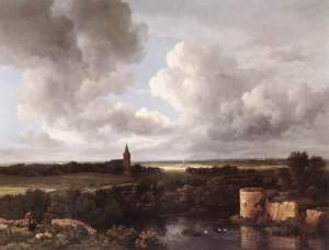 Gran paisaje con castillo en ruinas e iglesia | Jacob van Ruisdael | 1665