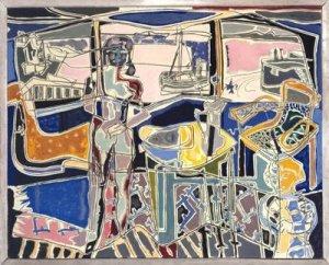 Ventana al puerto con 2 figuras. St Ives: Julio de 1950 | Patrick Heron | 1950