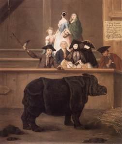 Exhibición de un rinoceronte en Venecia | Pietro Longhi | 1751
