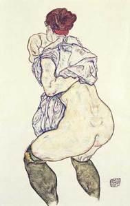 Mujer desvistiéndose | Egon Schiele | 1917