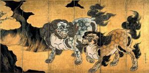 Leones chinos | Kano Eitoku | Finales del siglo XVI