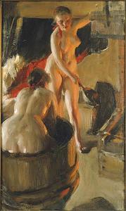 Muchachas de Dalarna tomando un baño | Anders Zorn | 1906