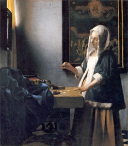 Mujer sosteniendo una balanza | Johannes Vermeer | 1664