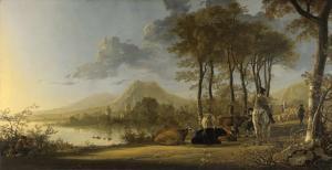 Paisaje de río con jinetes y campesinos | Aelbert Cuyp | 1660