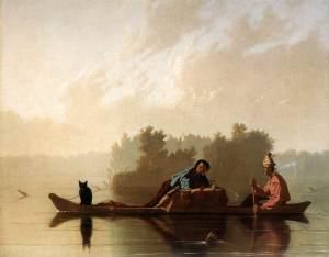 Comerciantes de pieles descendiendo el Missouri | George Caleb Bingham | 1845