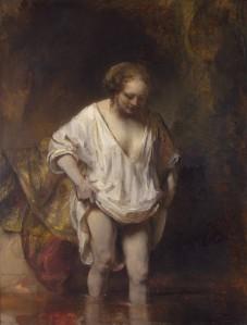 Mujer bañándose en un arroyo | Rembrandt | 1654