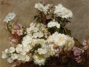 Flox blanca, crisantemo de verano y espuela de caballero | Henri Fantin-Latour | 1865