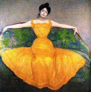 Mujer con vestido amarillo | Max Kurzweil | 1899