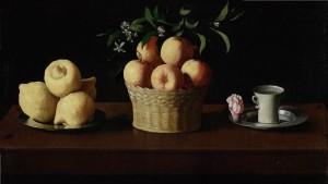 Naturaleza muerta con limones, naranjas y una rosa | Francisco de Zurbarán | 1633