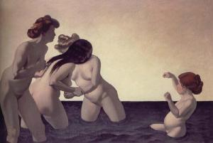 Tres mujeres y una muchacha jugando en el agua | Félix Edouard Vallotton | 1907