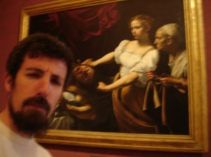 "Yo posando con ""Judith cortando la cabeza de Holofernes"" de Caravaggio | Palazzo Barberini | Roma"