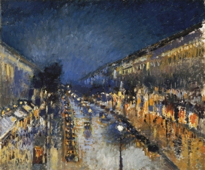 Boulevard Montmartre de noche | Camille Pissarro | 1897