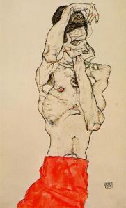 Desnudo masculino con taparrabos rojo | Egon Schiele | 1914